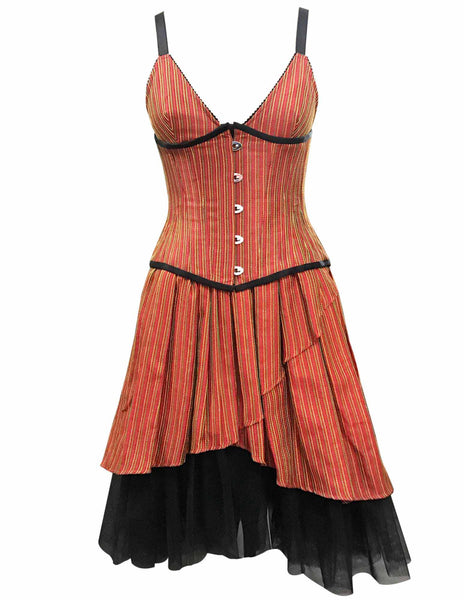 Amblin Orange Taffeta With Yellow Green Stripe Underbust Corset - Corsets Queen US-CA