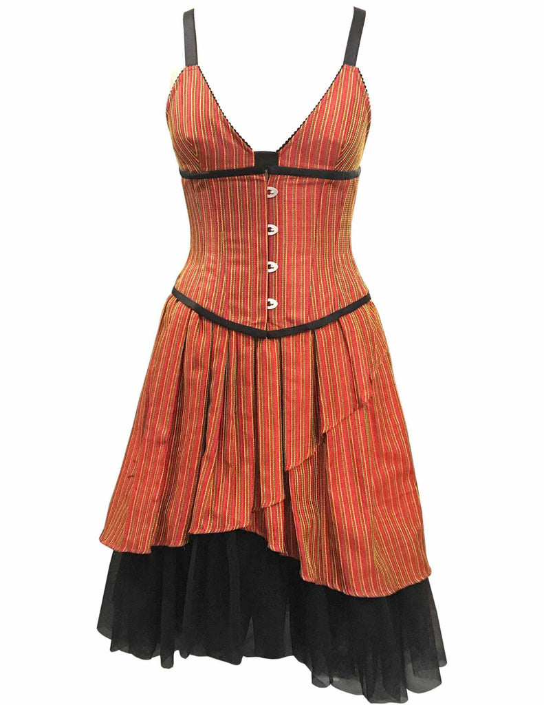 Sodlberg Orange Taffeta With Yellow Green Stripe Underbust Corset - Corsets Queen US-CA