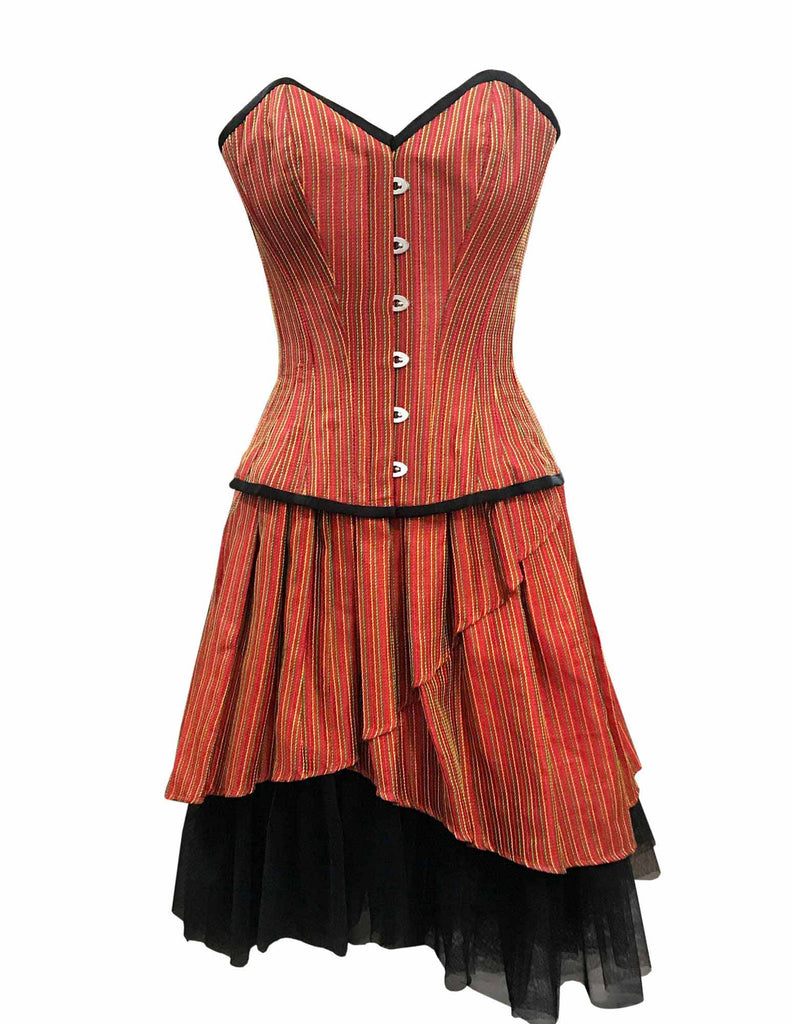 Leach Orange Taffeta With Yellow Green Stripe Overbust Corset - Corsets Queen US-CA