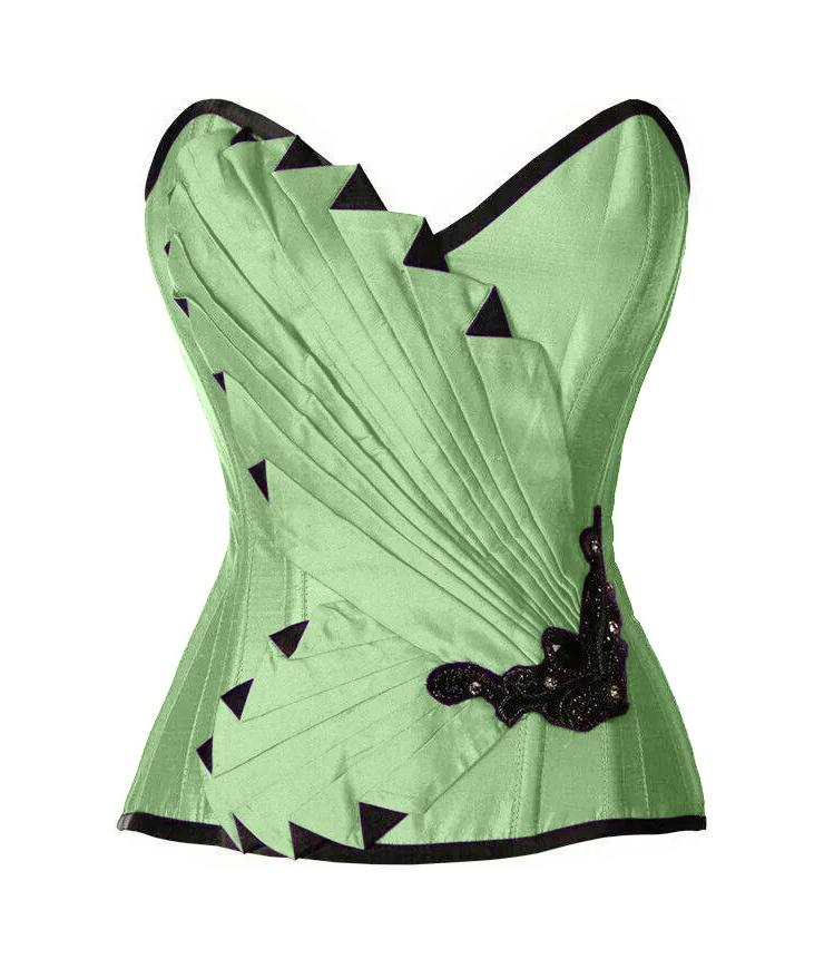Pearson Peach Green Satin/Taffeta Embroidered Overbust Corset - Corsets Queen US-CA