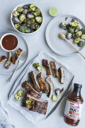 Hot Honey Chipotle Ribs with Honey Lime Brussels Sprouts