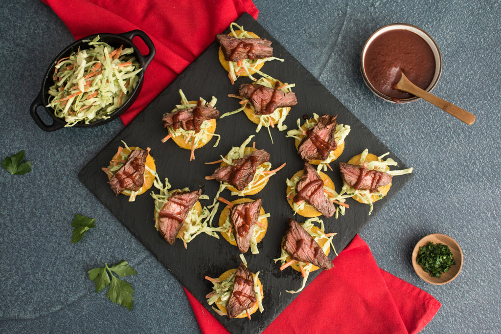 BBQ Steak Polenta Crostini with Avocado Slaw