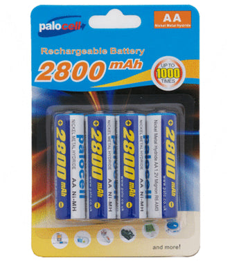 4 Pack Palocell AA Rechargeable Batteries 2800 NIMH Mah
