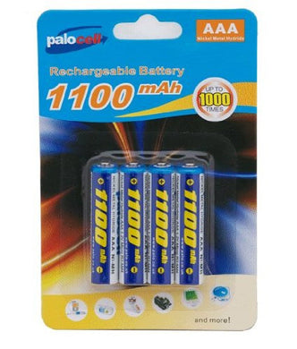 4 Pack Palocell AAA Rechargeable Batteries 1100 NIMH Mah
