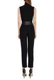 Black Pants With Faux Leather Waist