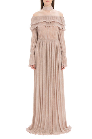 Nude Glitter Dress Long