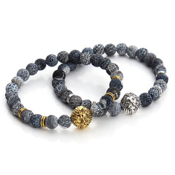 Natural Agate Lion Head Charm Mala Bracelets