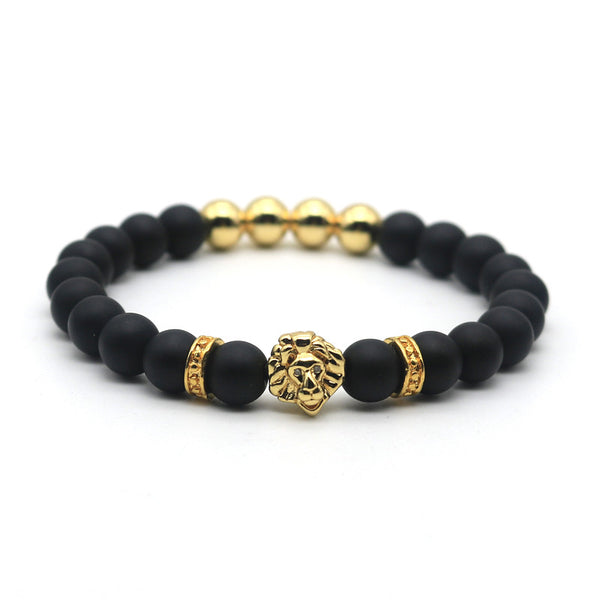 Matte Black and Gold Lion Head Charm Mala Bead Bracelet