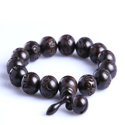 Natural Hand Carved Peach Wood Mala Bracelet