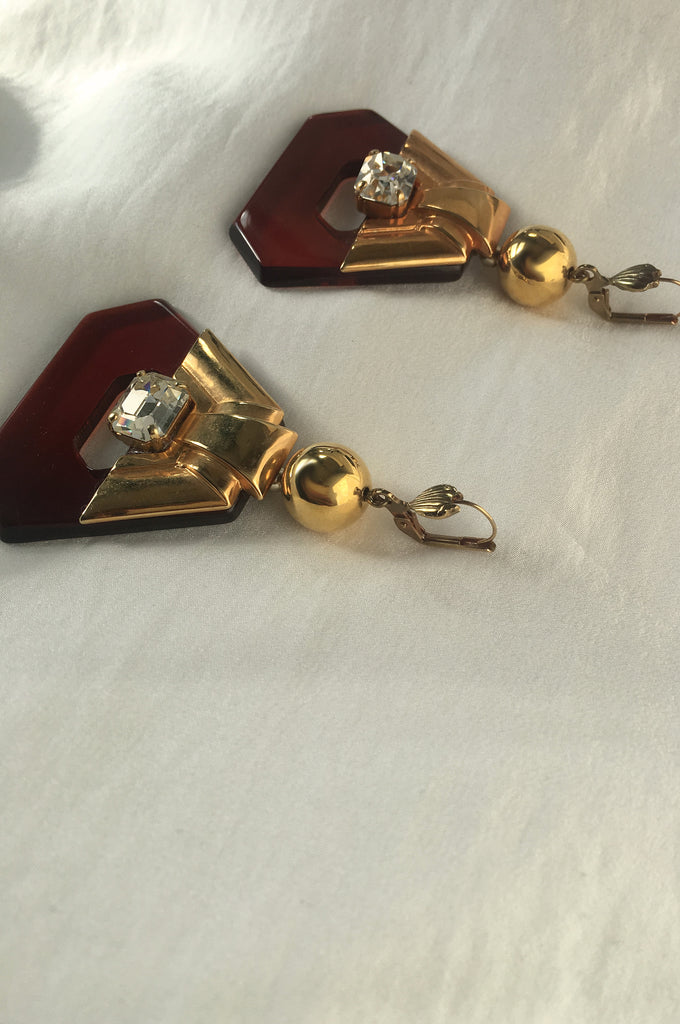 Vintage 1980s Celluloid Crystal Earrings