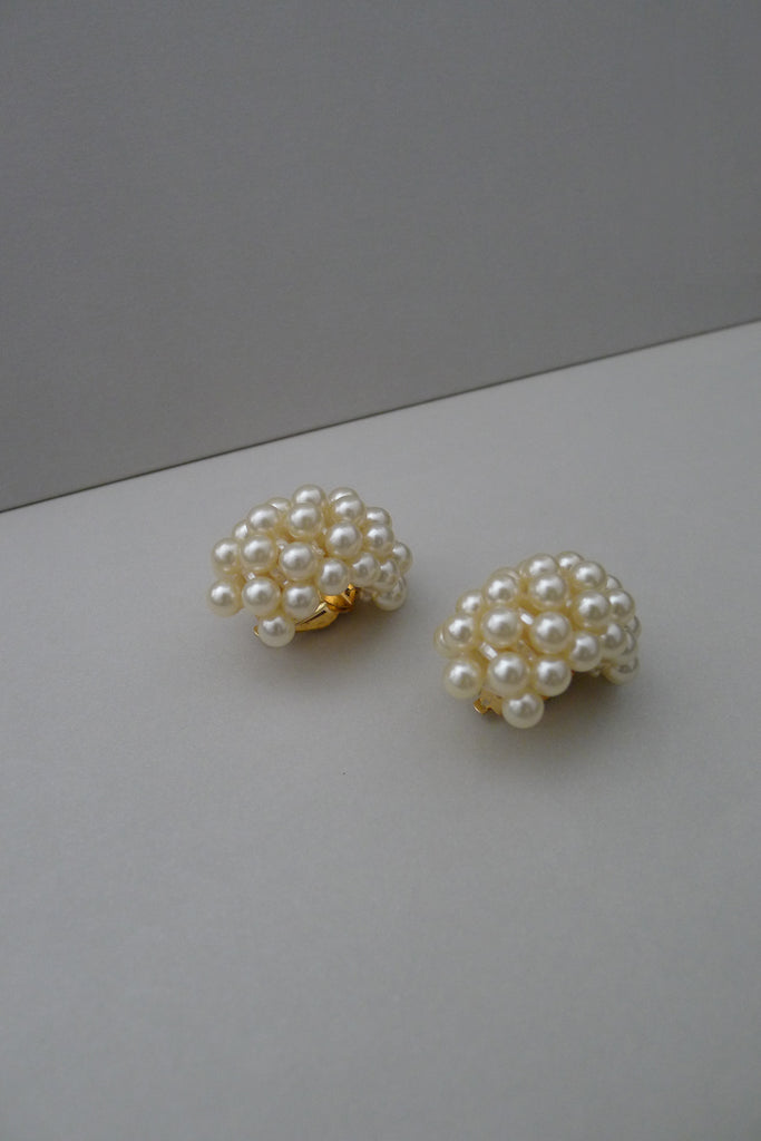 Vintage Demi Hoop Pearl Earrings