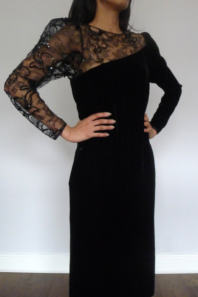 Vintage Louis Féraud Lace Velvet Dress