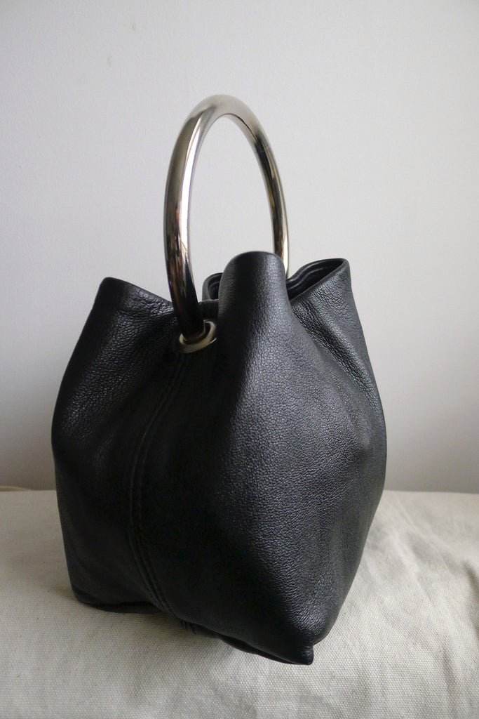 Hoop Handle Leather Bag