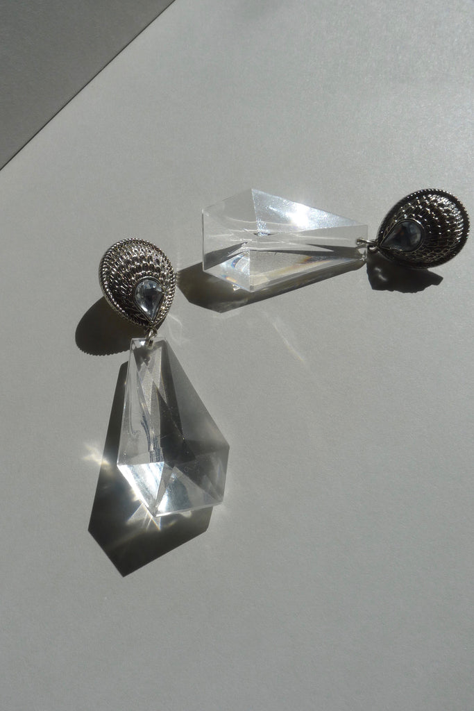 Vintage Clear Faceted Earrings