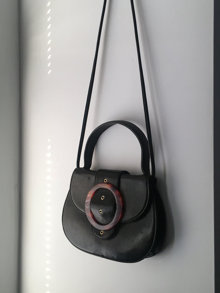 Leather Tortoiseshell Buckle Bag