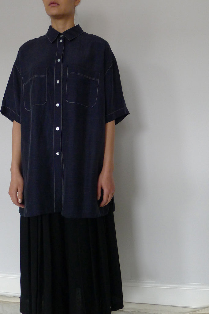 Contrast Stitch Oversized Shirt