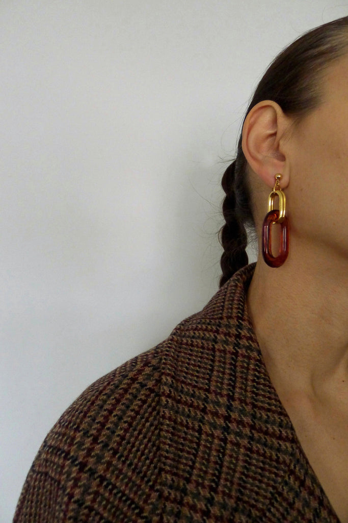 Vintage 1980s Tortoiseshell Effect Earrings