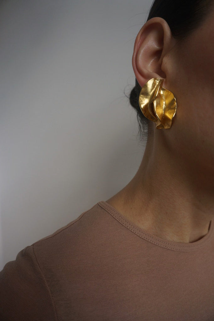 Vintage 1980s Pleat Detail Earrings