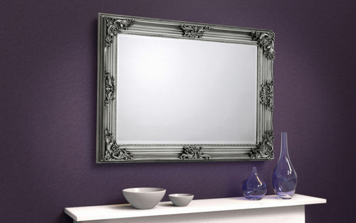 Pewter antique wall mirror | Rococo wall mirror-accessories-bedsmart