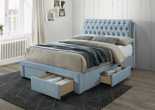 Light blue bed frame with drawers | Artisan 3013 fabric storage bed