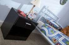 Black bedside with drawer and shelf | night light stand-Furniture-bedsmart