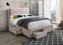 Pink bed frame with drawers | Artisan 3013 fabric storage bed