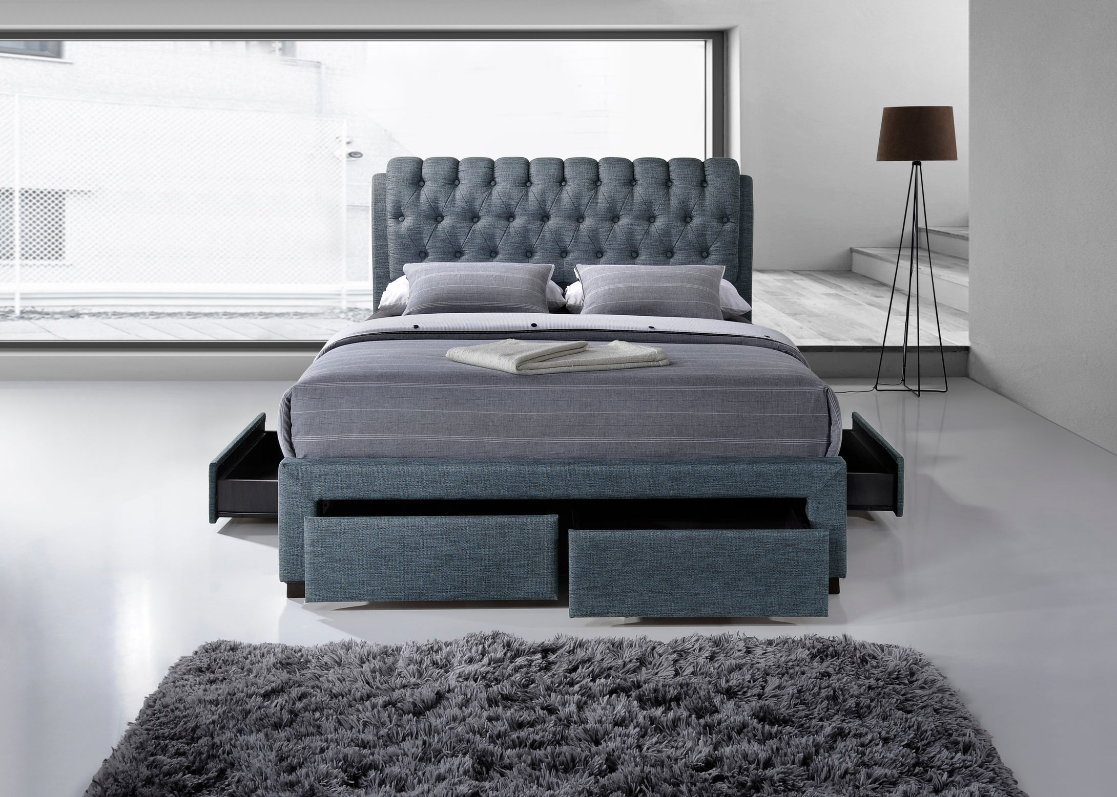 Artisan Grey Fabric 4 drawer storage bed 3013 - bedsmart