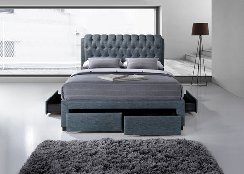 Artisan Grey Fabric 4 drawer storage bed-Storage beds-bedsmart