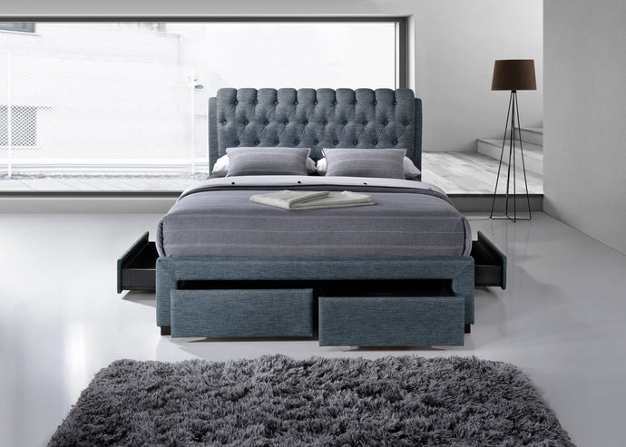 Artisan Grey Fabric 4 drawer storage bed 3013-Storage beds-bedsmart