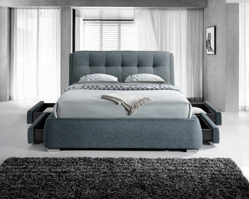 Grey fabric bed with drawers | Artisan storage bed-Storage beds-bedsmart
