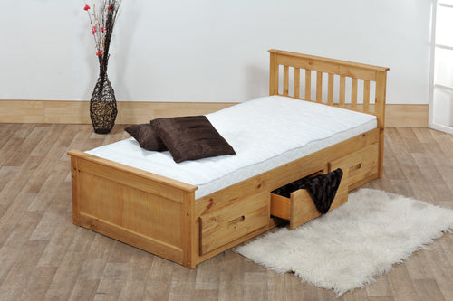 Pine single bed with drawers | waxed pine wooden bed frame with storage drawers - bedsmart