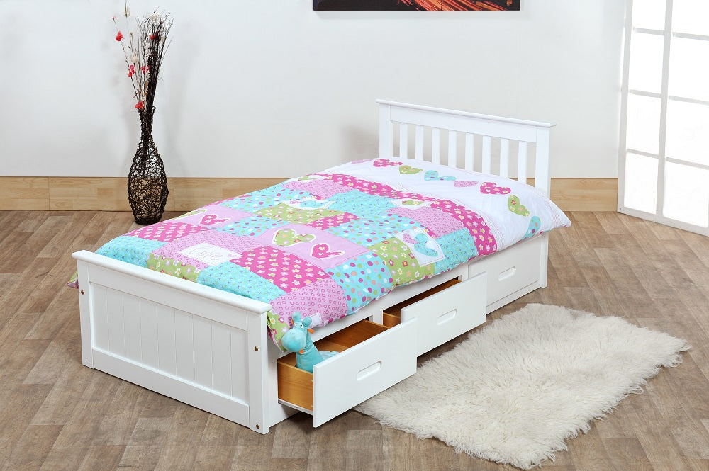 White Single Bed With Drawers Pine Wooden Bed Frame With Storage Drawers