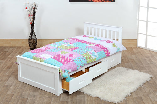 White single bed with drawers | pine wooden bed frame with storage drawers - bedsmart
