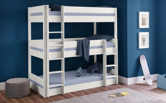 Everest surf white trio bunk bed-Childrens Beds-bedsmart