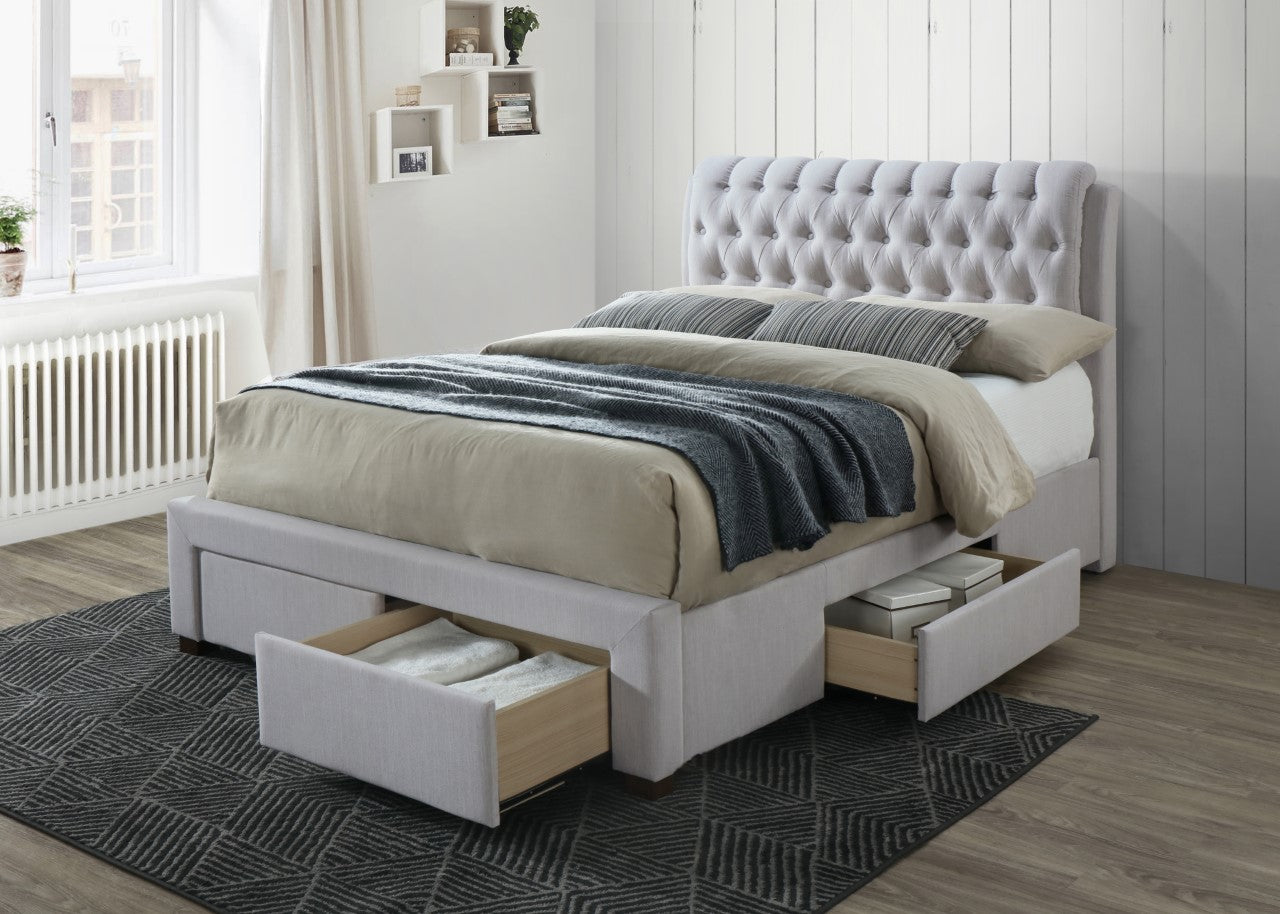 Storage bed with 4 drawers in stone coloured fabric | Artisan 3013 bed frame