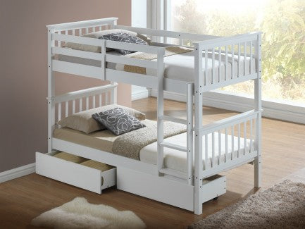 Artisan white wooden bunks with drawers