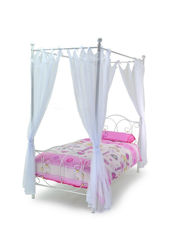 Girls Ballet Four Poster Bed with Drapes-Childrens Beds-bedsmart