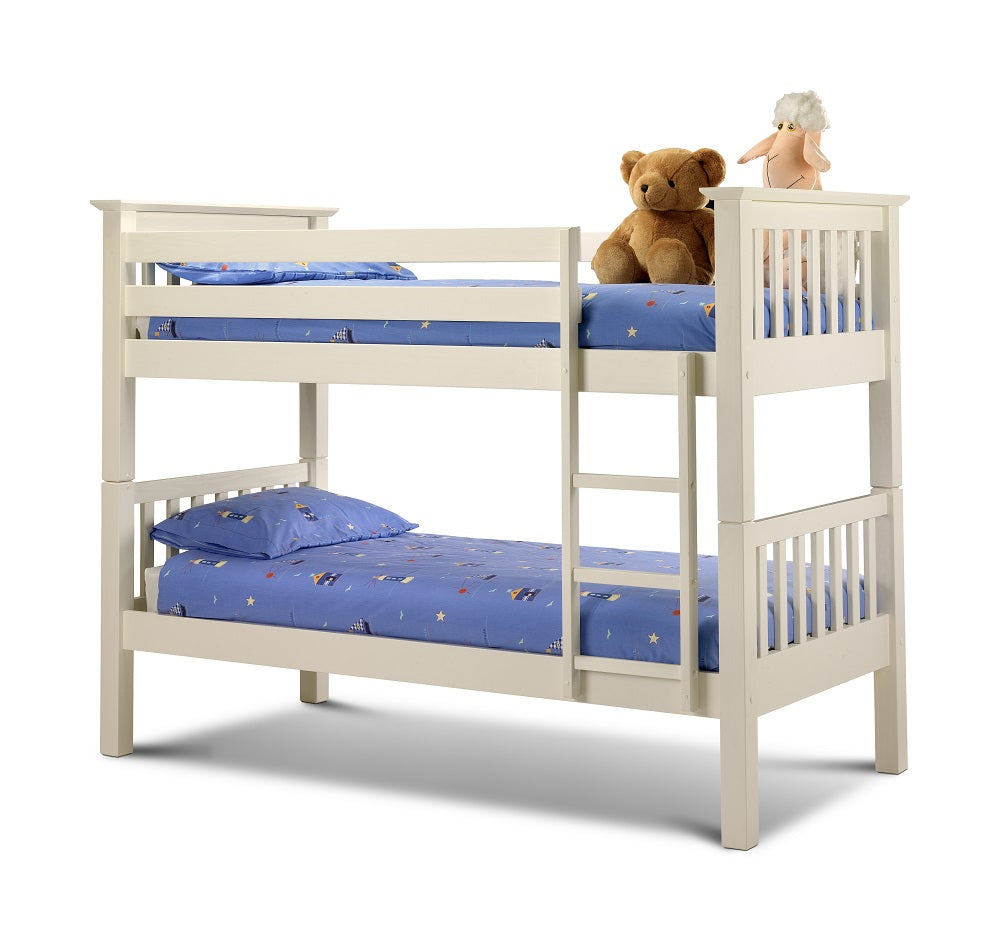 White pine wooden bunks | Madrid stone white bunk bed-Childrens Beds-bedsmart