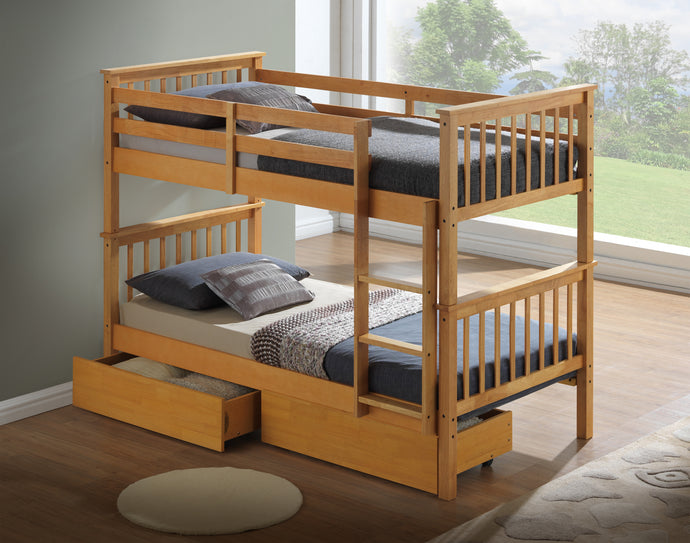 Artisan beech wooden bunks with drawers-bedsteads-bedsmart