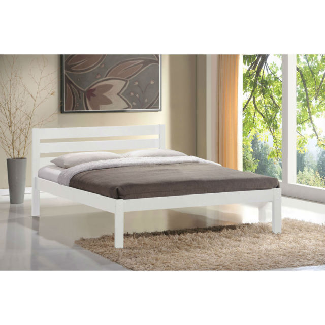 Eco white wooden bed frame - Flintshire furniture bed in a box