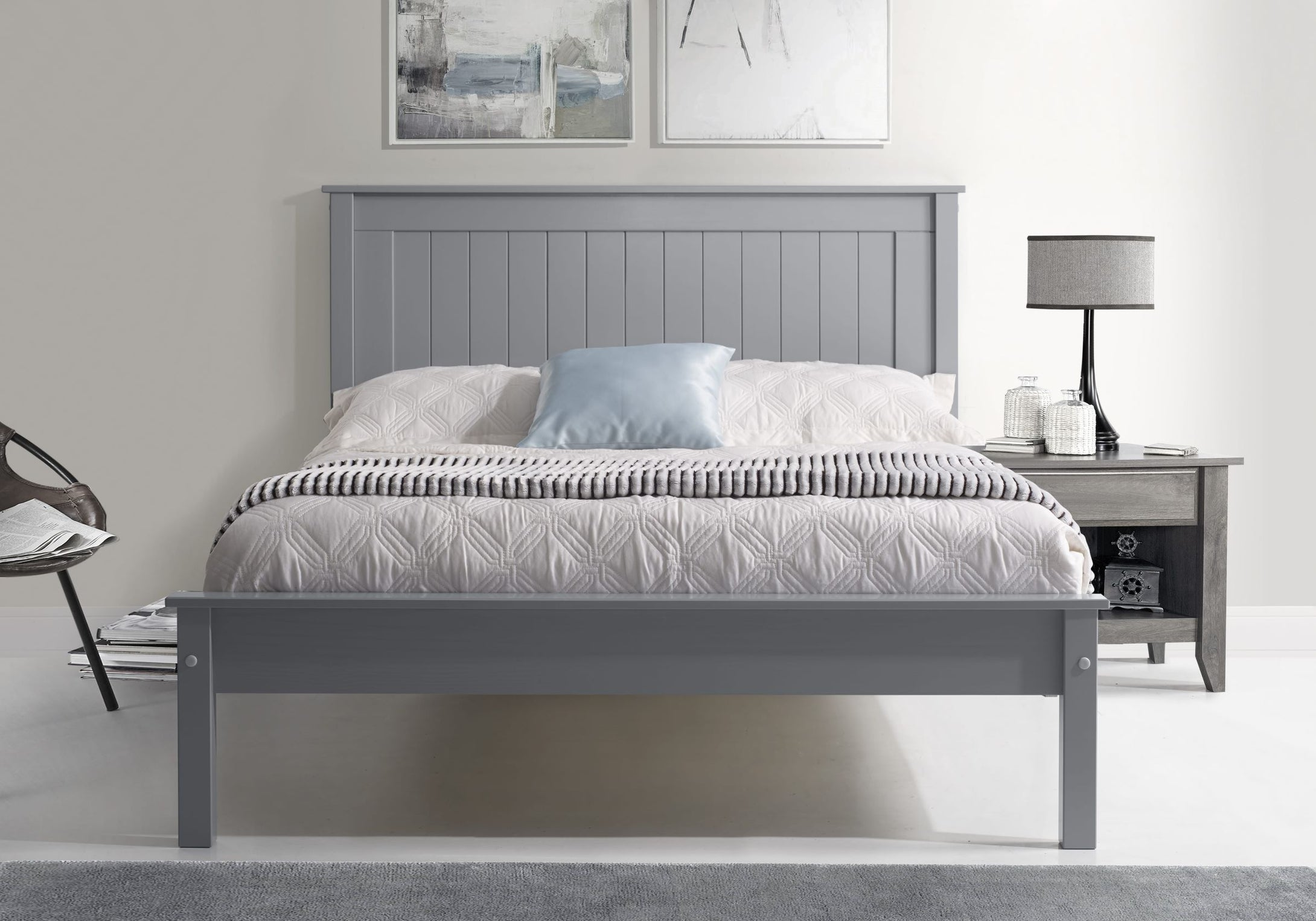 Limelight Grey wooden king size bed frame with low foot end-bedsteads-bedsmart