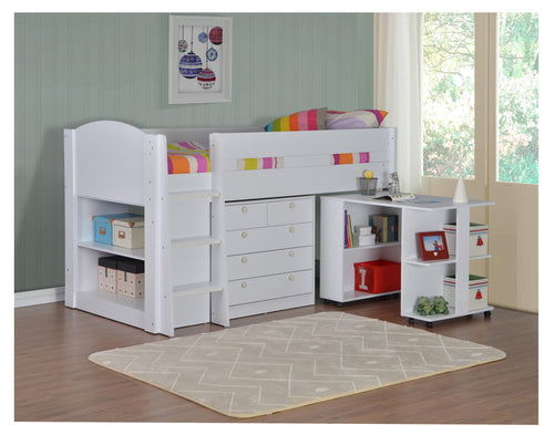 Frankie White midsleeper bed with desk and storage