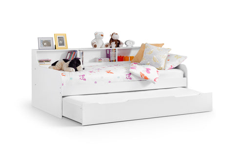 Gracie day bed with guest bed | White daybed with shelves and trundle set-Day beds-bedsmart