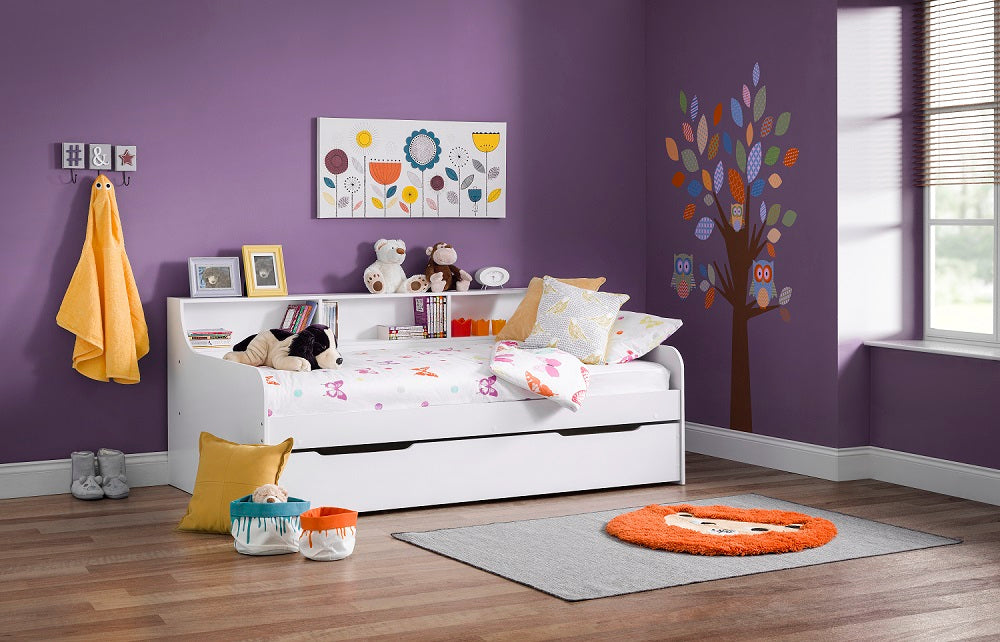 Gracie day bed with guest bed | White daybed with shelves and trundle set