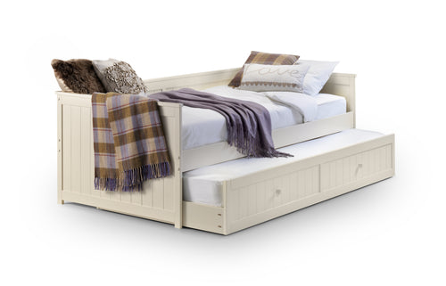 Isabella day bed with guest bed | White wooden daybed and trundle set