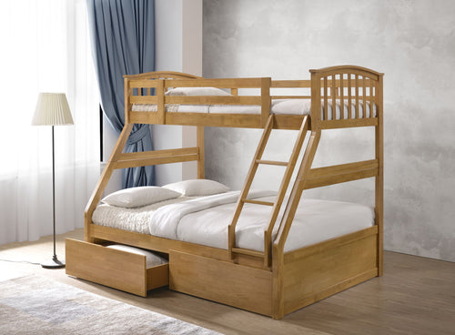 Artisan oak wooden triple bunk bed-bedsteads-bedsmart