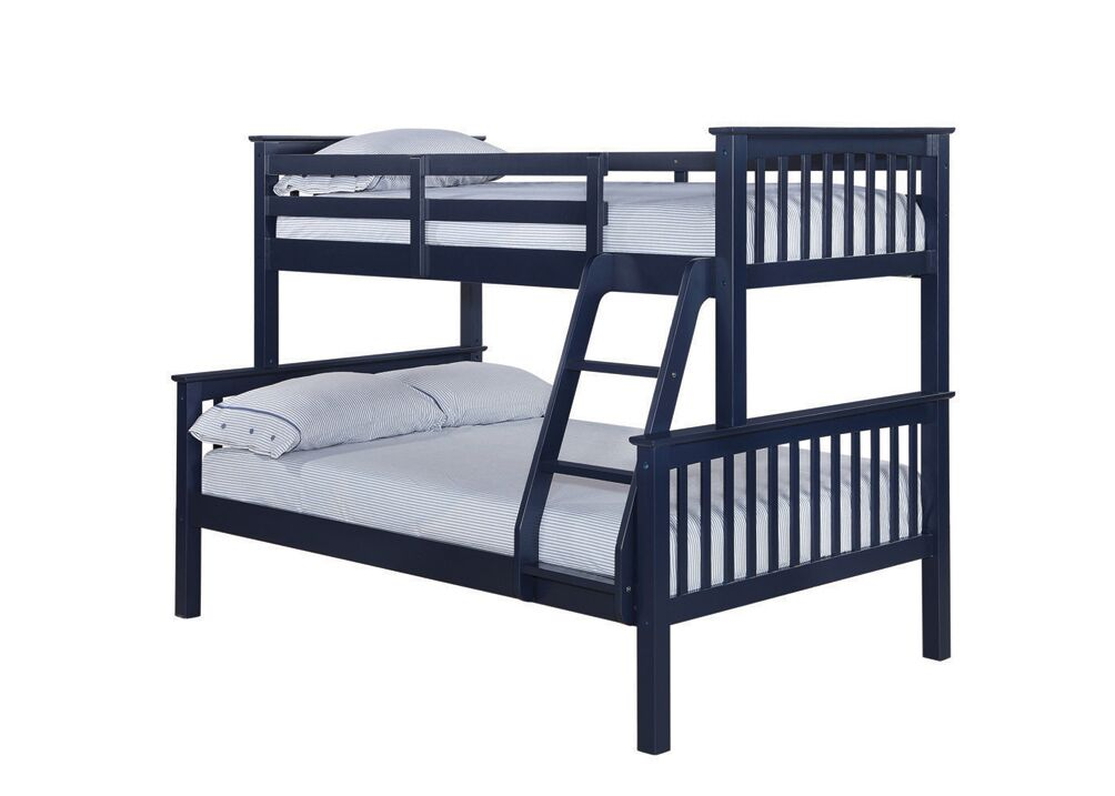 Navy Blue Otto Trio Bunk Bed-bedsteads-bedsmart