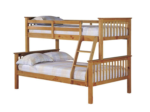 Small double triple sleeper pine bunk bed
