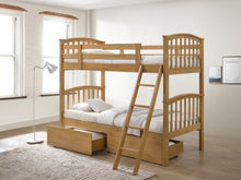 Oak wooden bunks with drawers-bedsteads-bedsmart