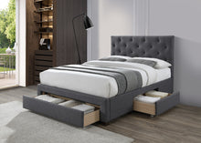 Limelight Monet dark grey fabric bed with drawers-Storage beds-bedsmart